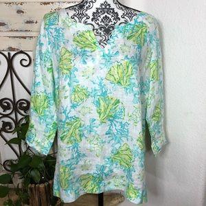 J Jill seashell print linen tunic